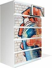 Möbel Aufkleber für IKEA Malm Kommode 80x123cm mit Motiv: Sprayer