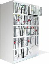 Möbel Aufkleber und Rakel für IKEA Malm Kommode 80x123cm mit Motiv: Winterwald