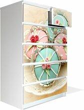 Möbel Aufkleber und Rakel für IKEA Malm Kommode 80x123cm mit Motiv: Cupcakes