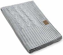 Möbel & Dekoration/Deko 1161111 Plaid, Baumwoll-Mischgewebe, hell grau, 280 x 130 cm
