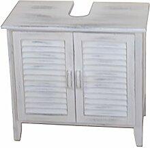 moebel direkt online Massivholz-Badmöbel Badmöbel-Serie weiß gewischt mit trendigen Gebrauchsspuren Waschbeckenunterschrank 2türig, mit Syphonausschnitt. Maße: B. 60 x t. 33 x H. 55 cm