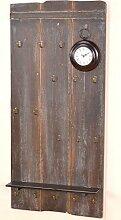 moebel direkt online Wandgarderobe _ Holzgarderobe _ Farbe braun mit Gebrauchsspuren _ Garderobenpaneele mit Uhr