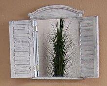 moebel direkt online Wandspiegel _ Massivholzspiegel _ Spiegel mit Türen _ Vintage-Spiegel used-look weiß