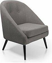 moebel-eins FIDU Sessel Stoffbezug/Füße Schwarz,