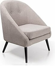 moebel-eins FIDU Sessel Stoffbezug/Füße schwarz, hellgrau