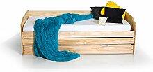 moebel-eins Lena Funktionsbett Tandemliege Jugendbett und Kinderbett mit Bettkasten Kiefer natur inkl. 3 x Lattenrost in 90 x 200 cm, Kiefer natur