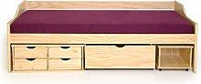 moebel-eins MARX Funktionsbett Stauraumbett 90 x 200 cm inkl. 4 Schubkästen für Kinderzimmer Jugendzimmer als Kinderbett Jugendbett Holzbett in Kiefer natur, Kiefer natur