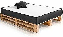 moebel-eins PALETTI Duo Massivholzbett Holzbett Palettenbett Bett aus Paletten in 180 x 200 cm Fichte, 180 x 200 cm, Fichte Natur