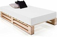 moebel-eins PALETTI Duo Massivholzbett Holzbett Palettenbett Bett aus Paletten in 120 x 200 cm Fichte, 120 x 200 cm, Fichte Natur