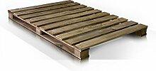 moebel-eins PALETTI Massivholzbett Holzbett Palettenbett Bett aus Paletten in 140 x 200 cm Rustikal gebeizt, 140 x 200 cm