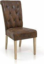 moebel-eins PRISCA Polstersessel Sessel Esszimmerstuhl Esstischstuhl Stuhl Polsterstuhl Eichefarbig/Microfaser Vintage