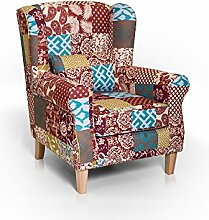 moebel-eins WILLY Ohrensessel Wing-Chair Sessel Polstersessel Wohnzimmersessel Relaxsessel/Patchwork Bun