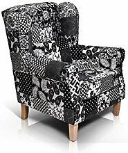 moebel-eins WILLY Ohrensessel Wing-Chair Sessel Polstersessel Wohnzimmersessel Relaxsessel/Patchwork schwarz