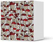 Möbel-Folie für IKEA Besta Regal 1 Tür Element   Dekorationssticker Dekorfolien Möbel-Aufkleber Folie   Wohnung einrichten Accessoires   Design Motiv City By Day