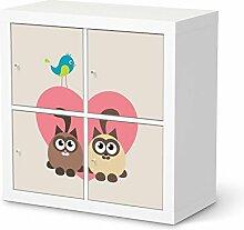 Möbel-Folie für IKEA Expedit Regal 4 Türen   Dekorationsaufkleber Deko Möbel-Folie Sticker   Inneneinrichtung verschönern Do it yourself   Design Motiv Cats Hear