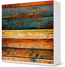 Möbel-Folie IKEA Pax Schrank 201 cm Höhe - 4 Türen / Design Schutz Wooden / blasenfrei aufkleben