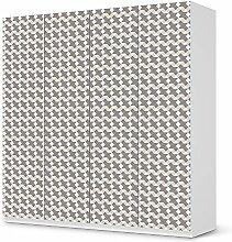 Möbel-Folie Sticker für IKEA Pax Schrank 201 cm Höhe - 4 Türen   Muster Dekorfolien Möbel-Folie   Möbel einrichten Deko   Muster Ornament Triangle Pattern - Grau
