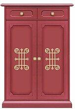 Möbel für Schuhe: 1 Schubfach/2 Türen, Schuhschrank aus Holz in rubinrot mit goldenen Friese, Möbel im Stil in lackierter Farbe für Flur/Schlafzimmer