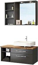 Möbel Kompelttset für Bad dunkel Grau und
