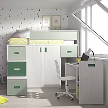 Möbel ROS Hochbett mit abnehmbarem Schreibtisch