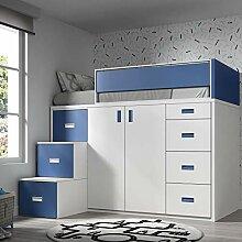 Möbel ROS Hochbett mit Schrank und Schubladen,