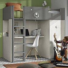Möbel ROS Hochbett mit Schreibtisch und Schrank -