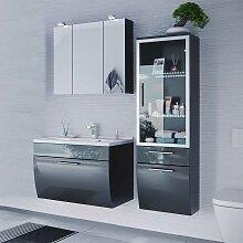 Möbel Set für Badezimmer Anthrazit Hochglanz (3-teilig)