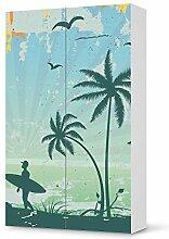 Möbel-Sticker Folie für IKEA Besta Schrank Hochkant 2 Türen | Sticker Dekorfolien Möbel-Tattoo | Einrichtung umgestalten Dekor | Design Motiv Beach Surfer