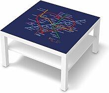Möbel-Sticker Folie für IKEA Lack Tisch 78x78 cm   Dekoaufkleber Dekorfolien Möbel-Folie   Inneneinrichtung einrichten Innendeko   Design Motiv Metro Line Heart - Blau