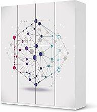 Möbel-Sticker Folie für IKEA Pax Schrank 236 cm Höhe - 4 Türen   Sticker Dekorfolien Möbel-Tattoo   Einrichtung umgestalten Dekor   Design Motiv Geometric Figures 3