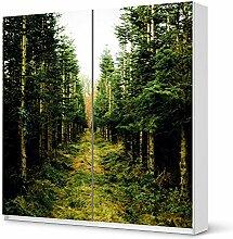 Möbel-Sticker IKEA Pax Schrank 201 cm Höhe - Schiebetür / Design Aufkleber Green Alley / selbstklebender Schutz