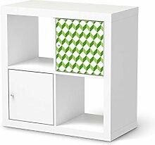 Möbel-Tattoo für IKEA Expedit Regal Tür einzeln   Folie Dekor Möbel-Aufkleber Folie   Möbel renovieren Wohnideen   Muster Ornament 3D Cubes - Grün