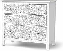 Möbel-Tattoo für IKEA Hemnes Kommode 3 Schubladen   Dekorationsaufkleber Dekorfolien Möbel-Aufkleber Folie   Wohnung umgestalten Innendekoration   Muster Ornament Flower Lines 1