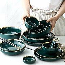 Möbel Teller Geschirr grün Keramik Gold