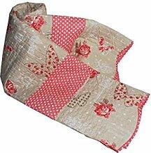 Möbel und corredi Schmetterlinge Liberty Gesteppte Tagesdecke, Mikrofaser, beige/pink, 260x 260x 0.5cm