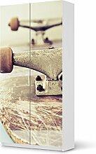Möbelaufkleber für IKEA Pax Schrank 201 cm Höhe - 2 Türen   Möbelfolie Bedruckte Klebe-Folie Möbel verschönern   Schöner Wohnen Wohnzimmer-Möbel Wohn Deko Ideen   Design Motiv Skateboard