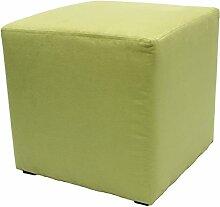 Möbelbär 8005 Sitzwürfel Hocker Sitzbank Cube mit Kunststoffgleiter ca. 45 x 45 x 45 cm, bezogen mit Alcantara Imitat Velour Wildleder Microfaser Farbe 2150 - Pistazie