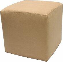 Möbelbär 8005 Sitzwürfel Hocker Sitzbank Cube mit Kunststoffgleiter ca. 45 x 45 x 45 cm, bezogen mit Alcantara Imitat Velour Wildleder Microfaser Farbe 2061 - Camel
