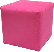 Möbelbär 8005 Sitzwürfel Hocker Sitzbank Cube mit Kunststoffgleiter ca. 45 x 45 x 45 cm, bezogen mit Alcantara Imitat Velour Wildleder Microfaser Farbe 2241 - Pink