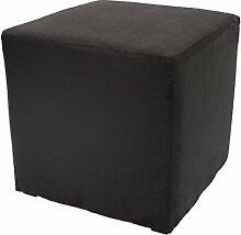 Möbelbär 8005 Sitzwürfel Hocker Sitzbank Cube mit Kunststoffgleiter ca. 45 x 45 x 45 cm, bezogen mit Alcantara Imitat Velour Wildleder Microfaser Farbe 2015 - Black