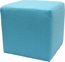 Möbelbär 8005 Sitzwürfel Hocker Sitzbank Cube mit Kunststoffgleiter ca. 45 x 45 x 45 cm, bezogen mit Alcantara Imitat Velour Wildleder Microfaser Farbe 2236 -Türkis