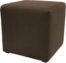 Möbelbär 8005 Sitzwürfel Hocker Sitzbank Cube mit Kunststoffgleiter ca. 45 x 45 x 45 cm, bezogen mit Alcantara Imitat Velour Wildleder Microfaser Farbe 2151 - Marron