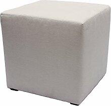 Möbelbär 8005 Sitzwürfel Hocker Sitzbank Cube mit Kunststoffgleiter ca. 45 x 45 x 45 cm, bezogen mit Alcantara Imitat Velour Wildleder Microfaser Farbe 2012 - Silver Grey