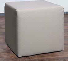Möbelbär 8008-01 Sitzwürfel 45 x 45 x 45 cm, bezogen mit hochwertigem Sawanna Struktur, Webstoff, crème