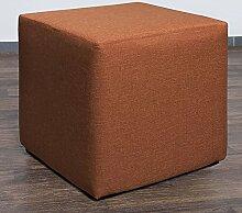 Möbelbär 8008-18 Sitzwürfel 45 x 45 x 45 cm, bezogen mit hochwertigem Sawanna Struktur, Webstoff, orange