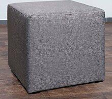 Möbelbär 8008-21 Sitzwürfel 45 x 45 x 45 cm, bezogen mit hochwertigem Sawanna Struktur, Webstoff, grau