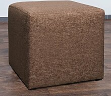 Möbelbär 8008-25 Sitzwürfel 45 x 45 x 45 cm, bezogen mit hochwertigem Sawanna Struktur, Webstoff, camel