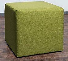 Möbelbär 8008-35 Sitzwürfel 45 x 45 x 45 cm, bezogen mit hochwertigem Sawanna Struktur, Webstoff, lime grün