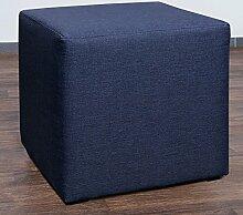 Möbelbär 8008-80 Sitzwürfel 45 x 45 x 45 cm, bezogen mit hochwertigem Sawanna Struktur, Webstoff, dunkelblau
