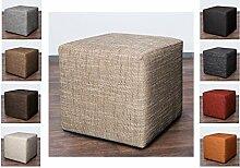 Möbelbär 8009-04 Sitz-würfel / -hocker 45 x 45 x 45 cm, bezogen mit robustem Magma Webstoff, braun / beige